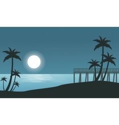 Silhouette of seaside with moon landscape vector image vector image