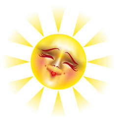 Sun with happy smile vector