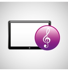 Tablet technology icon clef note vector