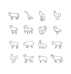 thin line farm animals icons set vector image vector image