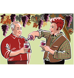 Two farmers in a break of the harvest vector
