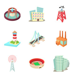 urban infrastructure icons set cartoon style vector image vector image