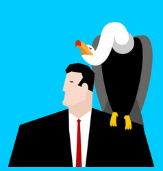 vulture and businessman neophron sitting on man vector image vector image