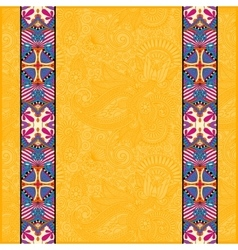 Yellow lace border stripe in ornate floral vector
