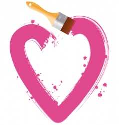 Paintbrush pink heart vector