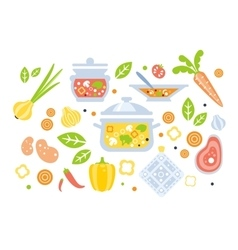 Soup preparation set of ingredients vector
