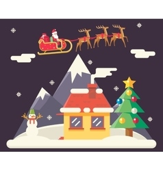 Sky flying sleigh cristmas new year house vector