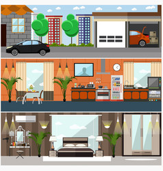 Set of house interior posters banners in vector