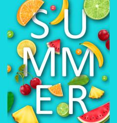 Summer banner with pineapple watermelon banana vector