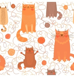 Seamless pattern with cute cats and balls of yarn vector