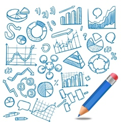 Charts and diagrams sketch vector