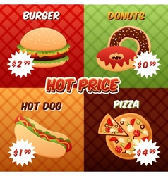 Fast food poster set vector