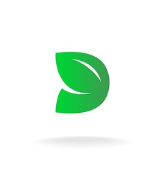 D letter logo template green leaves nature concept vector