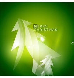 Christmas tree green shiny abstract background vector