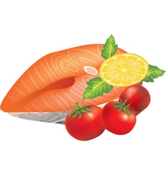 Salmon dish vector