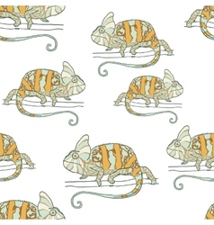 Seamless pattern with chameleon vector