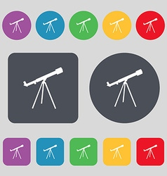 Telescope icon sign a set of 12 colored buttons vector