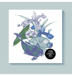 Vintage pond watery flowers greeting card vector