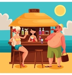 Summer vacation a beach bar by the sea vector