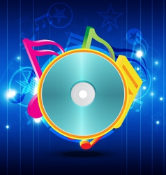 Music disk with festival background vector image