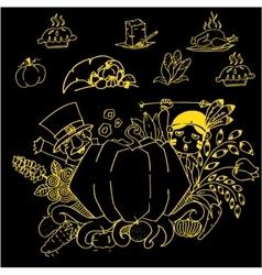 Thanksgiving doodle art vector image