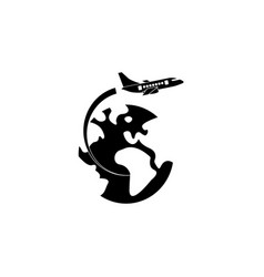 airplane flying around earth solid icon vector image