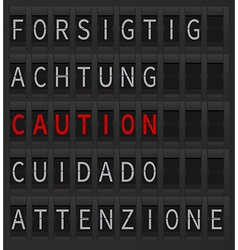 Airport timetable caution sign vector