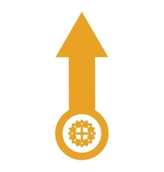 Arrow pointing up with gear icon vector