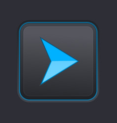 Blue arrow on square black button vector