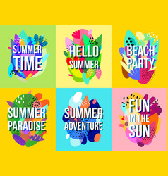 bright abstract summer sale banners collection vector image