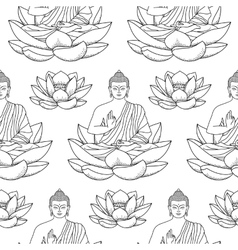 Buddha sitting on Lotus Seamless Pattern vector image