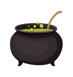 Cauldron with elixir isolated icon vector