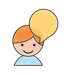 Cute little boy with speech bubble vector