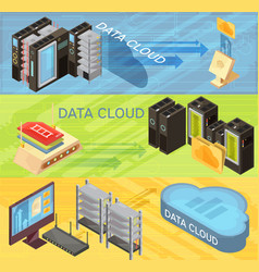 Data cloud isometric banners set vector