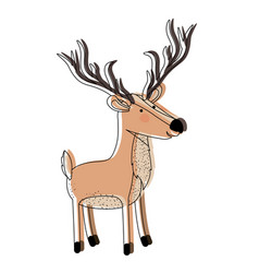 Deer cartoon with long horns watercolor silhouette vector