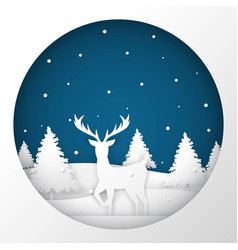 deer standing in a snow field in christmas night vector image vector image