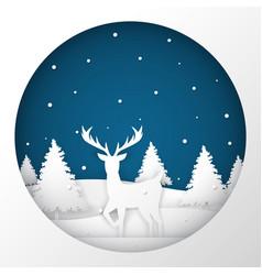Deer standing in a snow field in christmas night vector