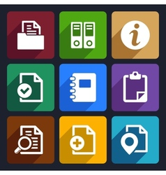 Documents and folders flat icons set 20 vector