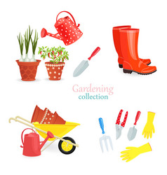 fashion collection of gardening equipments for vector image