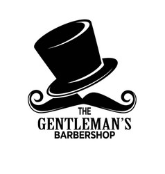 gentlemans barber shop black emblem with tall hat vector image vector image