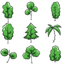 Green tree on doodles set vector