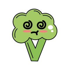 Kawaii cute sick broccoli vegetable vector