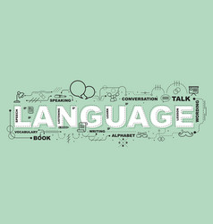 Language word for education with icons flat design vector