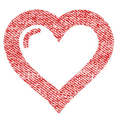 love heart fabric textured icon vector image vector image