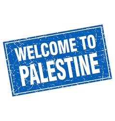 Palestine blue square grunge welcome to stamp vector