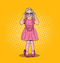 Pop art girl in mothers shoes and sunglasses vector