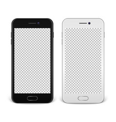 realistic smartphone icon set - black and white - vector image