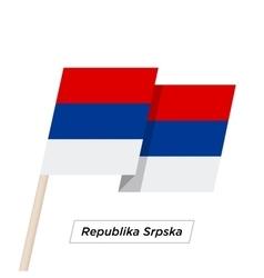 Republika srpska ribbon waving flag isolated on vector