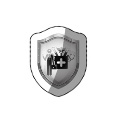 Sticker shield with doctor with medical tools vector