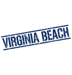Virginia beach blue square stamp vector